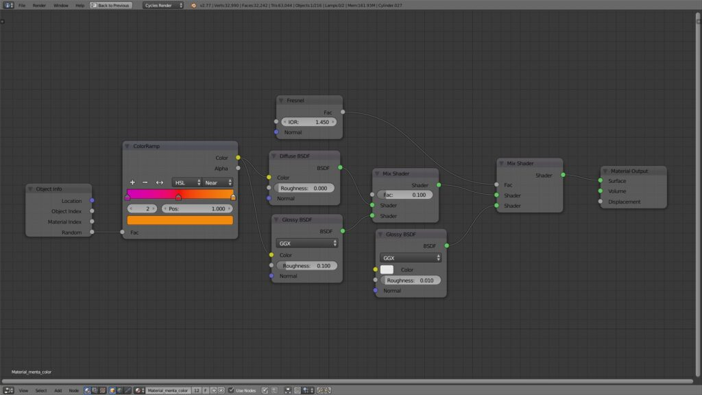 Material menta parte con color -Blender Cycles