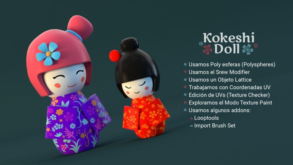 Sumario del turorial kokeshi doll con Blender 3D